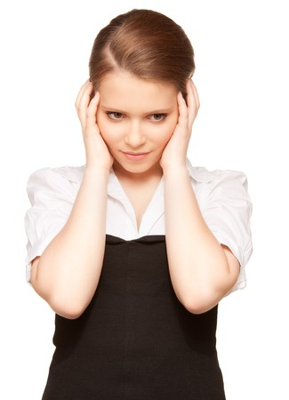 bright picture of unhappy teenage girl over white Stock Photo - 8136479