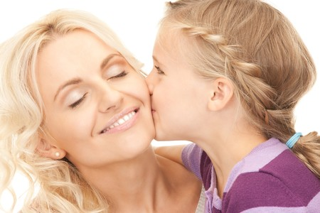 women kissing: bright picture of happy mother and child