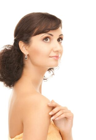 bright picture of lovely woman in towel over white Stock Photo - 8136662