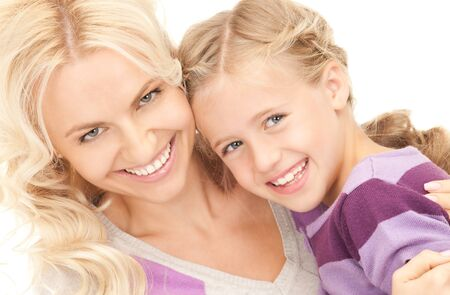 preteen girl: bright picture of happy mother and child