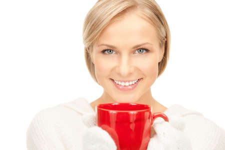 picture of beautiful woman with red mug photo