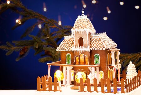 picture of gingerbread house over christmas background Stock Photo - 8136890