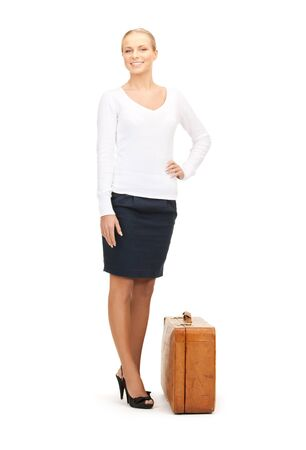 picture of beautiful woman with brown suitcase Stock Photo - 8214791