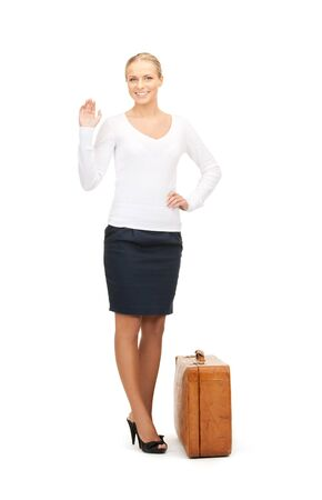 picture of beautiful woman with brown suitcase Stock Photo - 8214952
