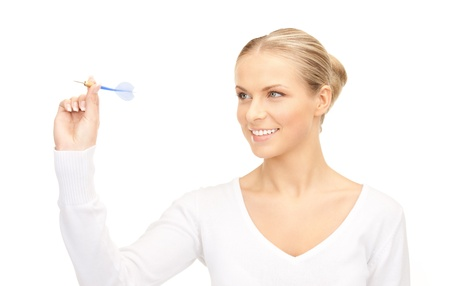 bright picture of businesswoman throwing a dart Stock Photo - 8276982