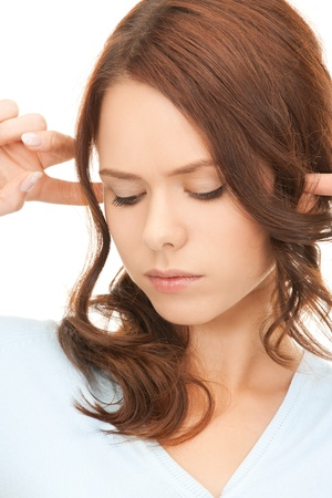picture of woman with fingers in ears Stock Photo - 8277119