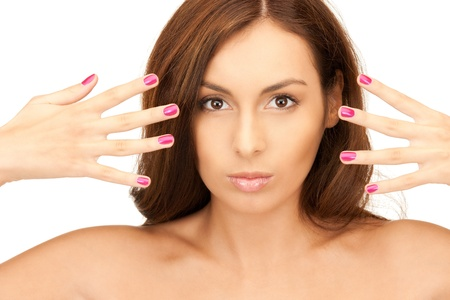 bright picture of lovely woman with polished nails over white Stock Photo - 8277299
