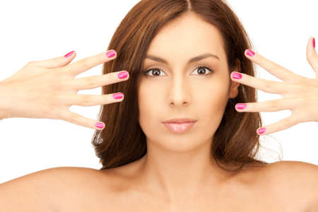 bright picture of lovely woman with polished nails over white Stock Photo - 8324977