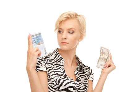 picture of woman with euro and dollar money notes photo