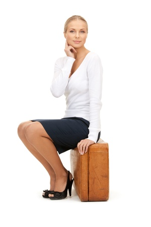 picture of beautiful woman with brown suitcase Stock Photo - 8324532