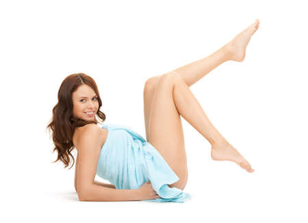 bright picture of lovely woman in towel over white photo