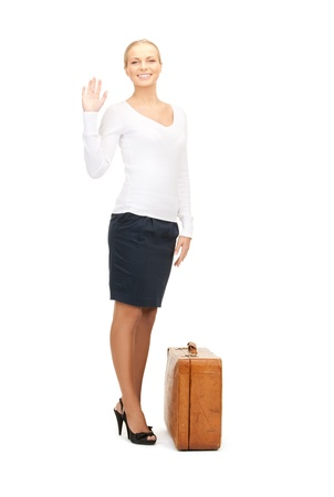 picture of beautiful woman with brown suitcase Stock Photo - 8324994