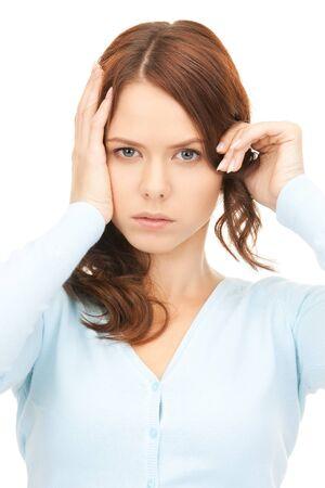 migraine: bright picture of unhappy woman over white Stock Photo