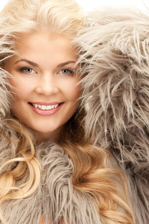 bright picture of beautiful woman in fur  photo