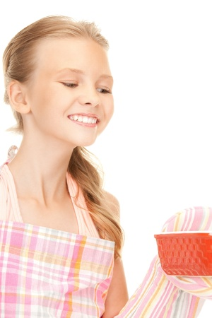 bright picture of cooking girl over white photo