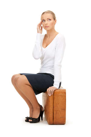 picture of beautiful woman with brown suitcase Stock Photo - 8334967
