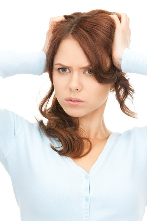 bright picture of unhappy woman over white Stock Photo - 8335003