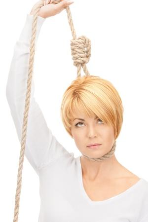 mujer decepcionada: imagen brillante de mujer de negocios con la soga  Foto de archivo