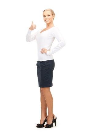 bright picture of lovely woman with thumbs up Stock Photo - 8335103