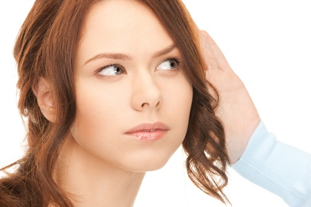 bruit: bright picture of young woman listening gossip Stock Photo