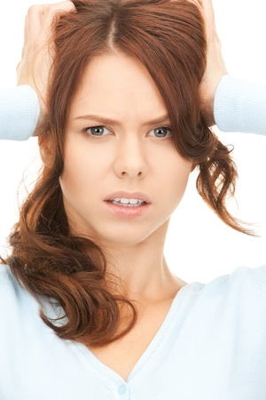 bright picture of unhappy woman over white Stock Photo - 8401968