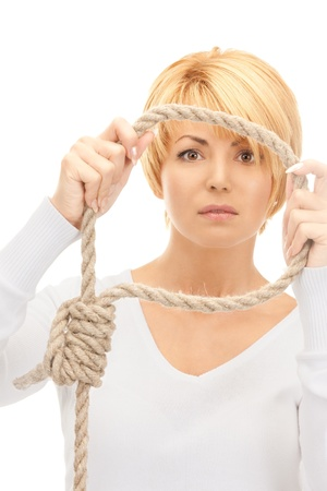 hanging woman: bright picture of business woman with the noose  Stock Photo