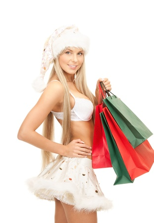 picture of cheerful santa helper with shopping bags Stock Photo - 8401896