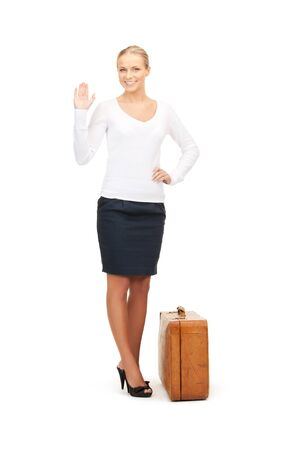 picture of beautiful woman with brown suitcase Stock Photo - 8410411