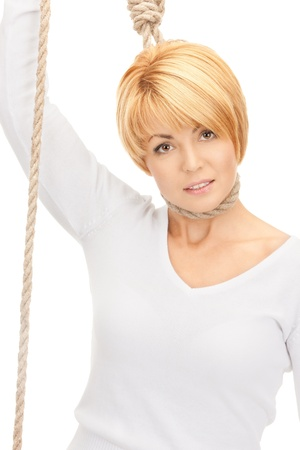 bright picture of business woman with the noose Stock Photo - 8410544