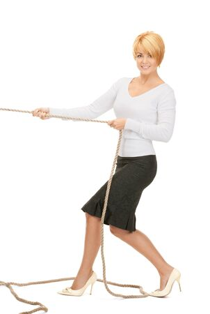 bright picture of business woman pulling rope  photo