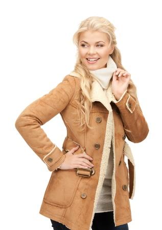 sheepskin: picture of beautiful woman in sheepskin jacket