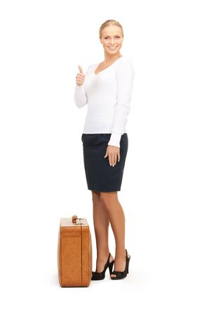 picture of beautiful woman with brown suitcase Stock Photo - 8410410