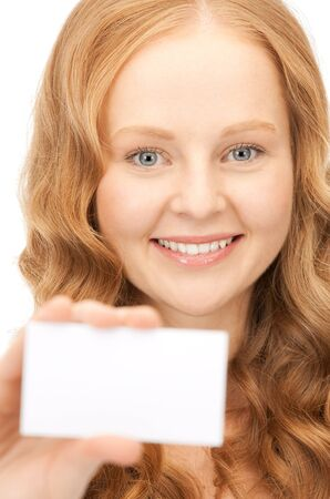 happy woman with business card over white Stock Photo - 8410610