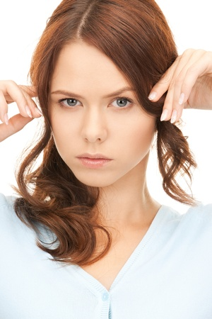 bright picture of unhappy woman over white Stock Photo - 8410635