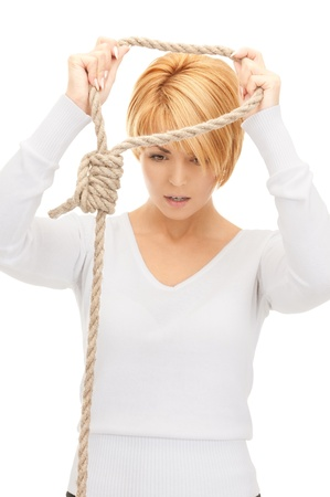 bright picture of business woman with the noose Stock Photo - 8410506