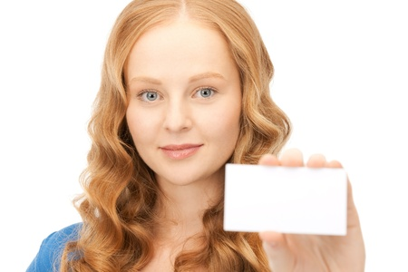 confident woman with business card over white Stock Photo - 8410768