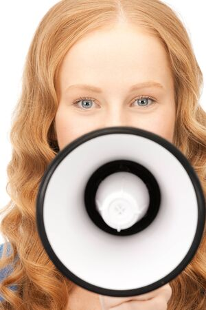 picture of woman with megaphone over white Stock Photo - 8410802