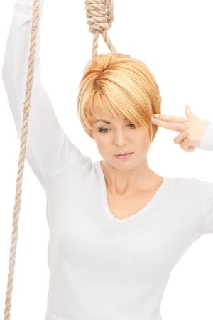 bright picture of business woman with the noose Stock Photo - 8410756