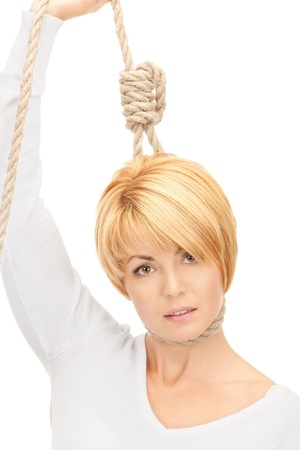 bright picture of business woman with the noose Stock Photo - 8410891