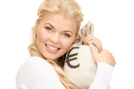 picture of woman with euro signed bag photo
