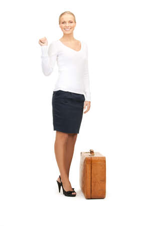picture of beautiful woman with brown suitcase Stock Photo - 8410810
