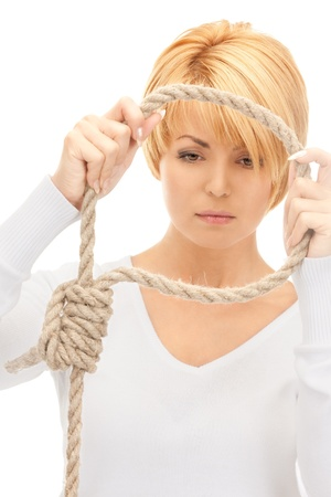 bright picture of business woman with the noose Stock Photo - 8410875