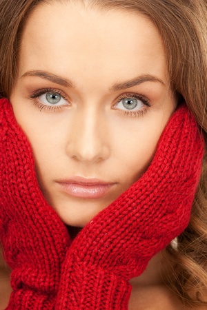 picture of beautiful woman in red mittens photo
