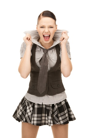angry teenager: bright picture of screaming teenage girl over white