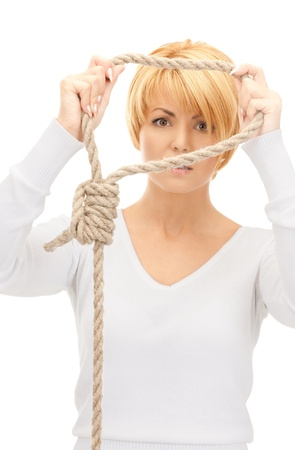 bright picture of business woman with the noose  photo