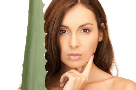 aging: picture of lovely woman with aloe vera Stock Photo
