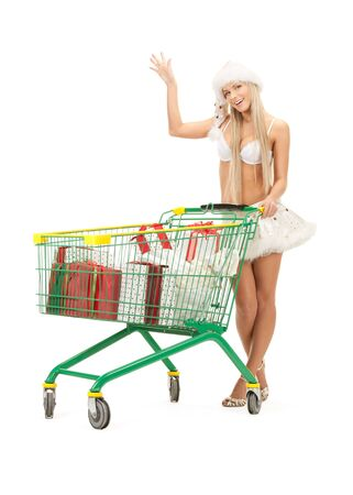 picture of cheerful santa helper with shopping bags Stock Photo - 8441230