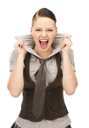 mujer con corbata: imagen brillante de gritos adolescente sobre blanco