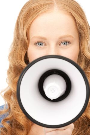 picture of woman with megaphone over white Stock Photo - 8454079