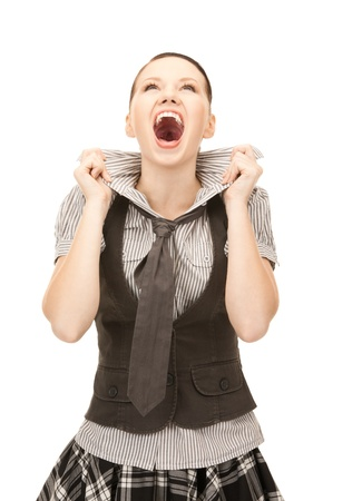 bright picture of screaming teenage girl over white Stock Photo - 8453999